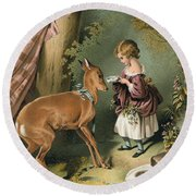 Girl Feeding A Deer Round Beach Towel