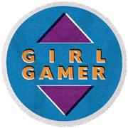 Girl Gamer Round Beach Towel