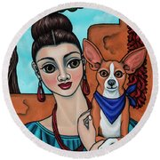 Girl Holding Chihuahua Art Dog Painting  Round Beach Towel