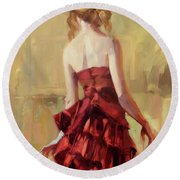 Girl In A Copper Dress II Round Beach Towel