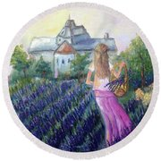 Girl In A Lavender Field  Round Beach Towel