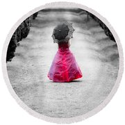 Girl In A Red Dress Round Beach Towel