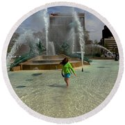 Girl In Fountain Round Beach Towel