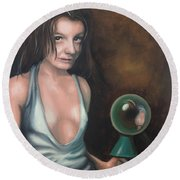 Girl In The Glass Round Beach Towel