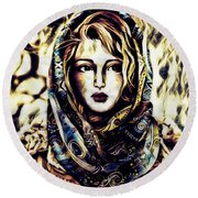 Girl In Hijab Round Beach Towel