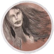 Girl In Mixed Media Round Beach Towel