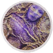 Round Beach Towel featuring the mixed media Girl In Purple by Angela Stout