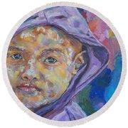 Burma Girl In Purple Round Beach Towel