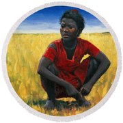 Girl In Red Round Beach Towel