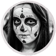 Round Beach Towel featuring the photograph Girl In Skull Facepaint by John Williams