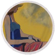Girl In The Brown Hat Round Beach Towel