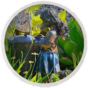 Round Beach Towel featuring the photograph Girl In The Garden by Lori Seaman