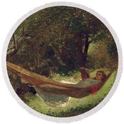 Girl In The Hammock Round Beach Towel