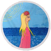 Girl In The Water Round Beach Towel