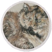 Round Beach Towel featuring the drawing Girl  by Meagan  Visser