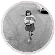 Girl On 13th Street, 1971 Round Beach Towel