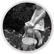 Round Beach Towel featuring the photograph Girl On A Mushroom by Sandi OReilly
