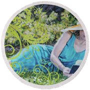 Girl Reading Book Round Beach Towel
