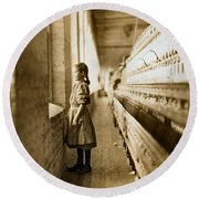 Girl Spinner 11 Years Old Rhodes Manufacturing Co Lincolnton 1908 Round Beach Towel