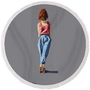 Girl Standing Round Beach Towel