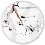 Girl Walking On Beach Round Beach Towel