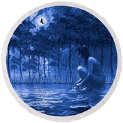Round Beach Towel featuring the photograph Girl Washing At The River by Diane Schuster