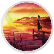 Girl Watching Sunset At The Lake Round Beach Towel