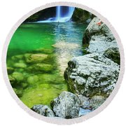 Girl Watching The Sum Waterfall In Vintgar Gorge Round Beach Towel