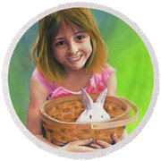 Girl With A Bunny Round Beach Towel