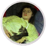 Girl With A Cat 1882 Round Beach Towel