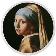 Girl With A Pearl Earring - After Vermeer Round Beach Towel