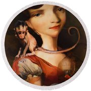 Girl With A Pet Monkey Round Beach Towel