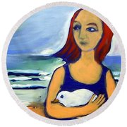 Girl With Bird Round Beach Towel