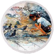 Round Beach Towel featuring the painting Girl With Birds by Kovacs Anna Brigitta