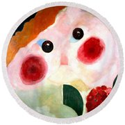Girl With Buttercups Round Beach Towel by Pg Reproductions
