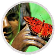 Girl With Butterfly Round Beach Towel