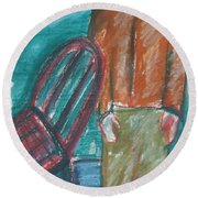 Girl With Chair Round Beach Towel