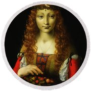 Round Beach Towel featuring the painting Girl With Cherries by Giovanni De Predis