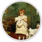 Girl With Dogs Round Beach Towel