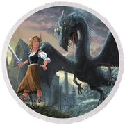 Girl With Dragon Fantasy Round Beach Towel