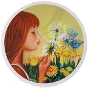 Girl With Flower Round Beach Towel by Rita Fetisov