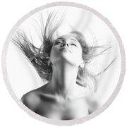 Girl With Flying Blond Hair Round Beach Towel by Olena Zaskochenko