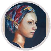 Girl With Headscarf Round Beach Towel