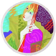 Girl With Beanie  Round Beach Towel