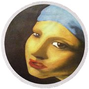 Round Beach Towel featuring the painting Girl With Pearl Earring Face by Jayvon Thomas