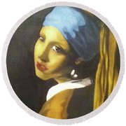 Round Beach Towel featuring the painting Girl With Pearl Earring by Jayvon Thomas