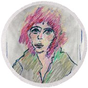 Girl With Pink Hair  Round Beach Towel