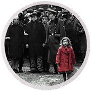 Girl With Red Coat Publicity Photo Schindlers List 1993 Round Beach Towel