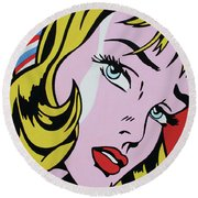 Girl With Ribbon Round Beach Towel