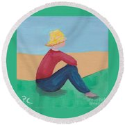 Girl With Straw Hat Round Beach Towel
